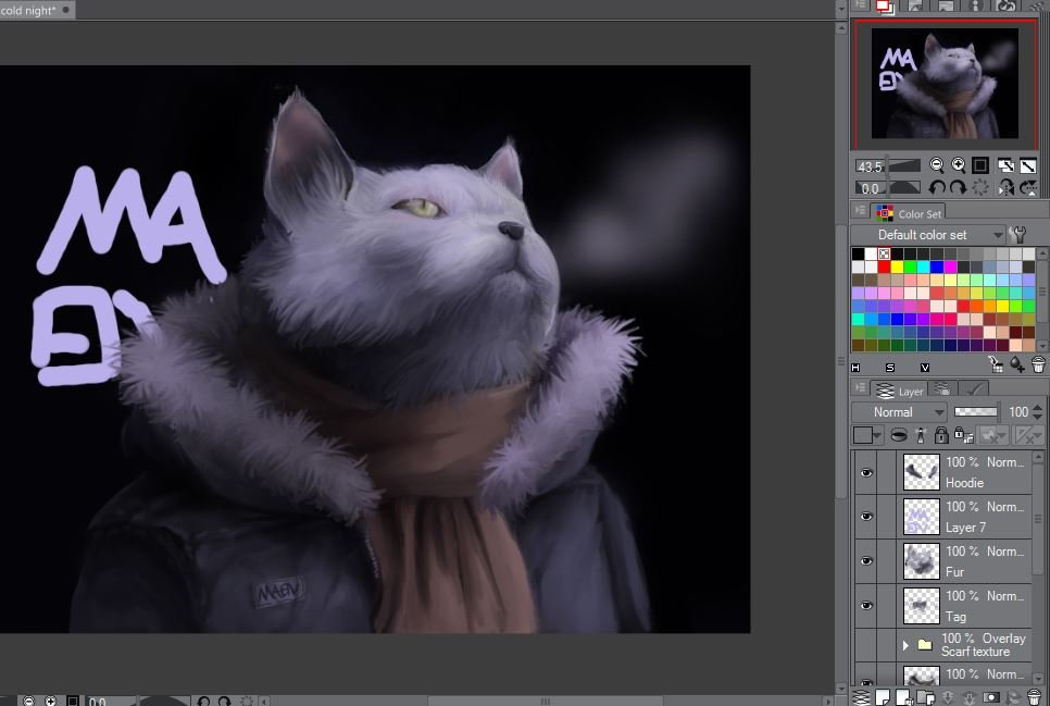 Anthro cat in the cold night wip 3.JPG