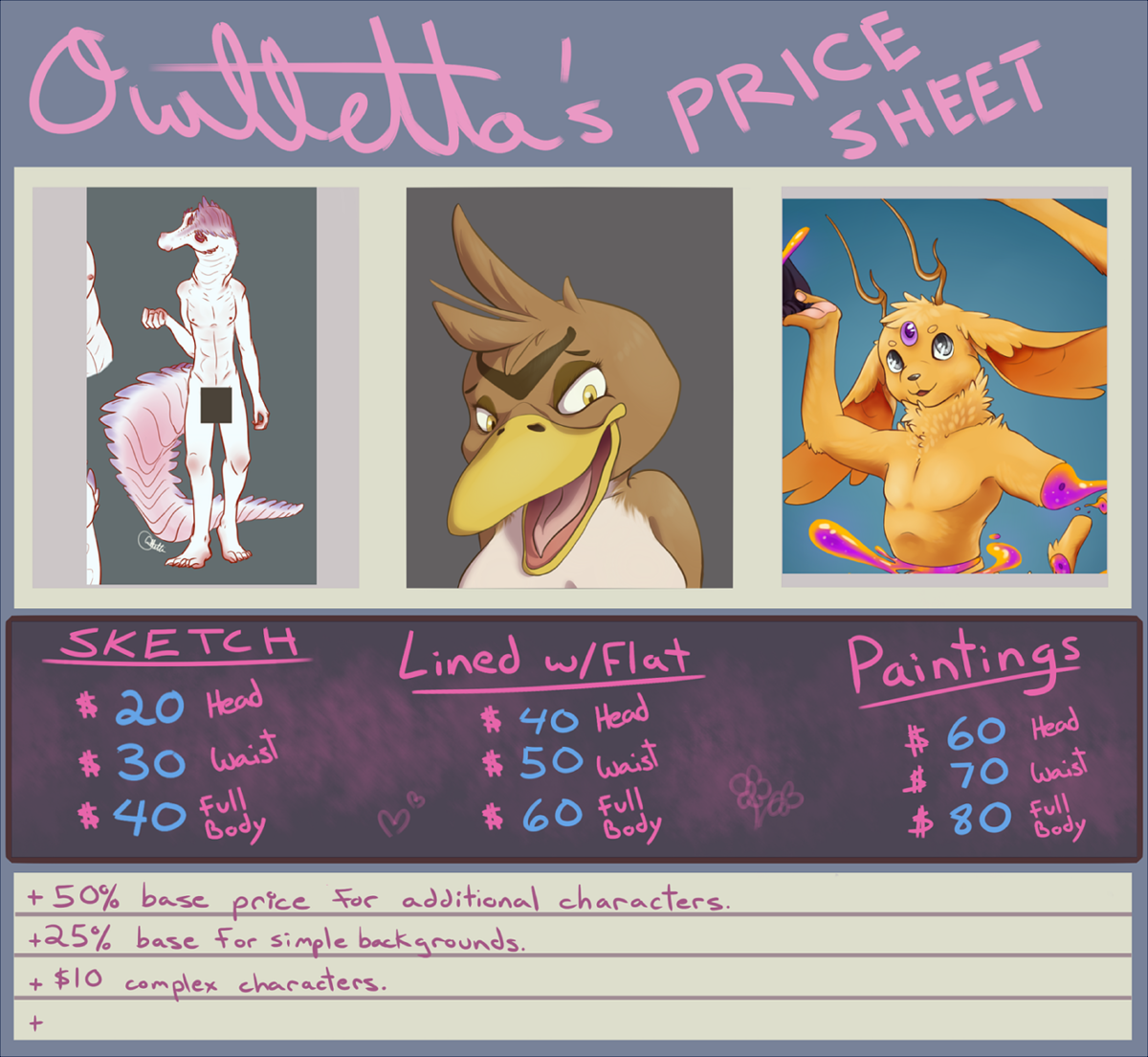 Commission hiring 2 jobs 1 character reference sheet and i would like to help you with this here is my price sheet and my tos for nsfw stuff commission info for owlletta fur affinity dot net negle Images